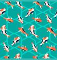 Fish koi background hand drawn sea abstract waves