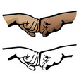 fist bump healthy diverse hands social distance vector image