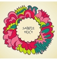 floral color round frame design text template vector image vector image