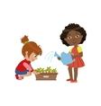 Girls Gardening Together vector image vector image
