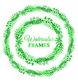 Green watercolor nature frames vector image