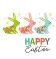 greeting card with three colorful easter bunnies vector image vector image