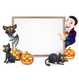 halloween sign with dracula and vampire bat vector image
