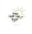 happy earth day sun and birds vector image vector image