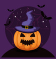 happy halloween card with pumpkinand witch hat vector image vector image