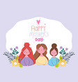 happy mothers day group women flowers branches vector image
