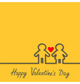 Happy Valentines Day Love card Man and Woman black vector image vector image