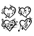 heart with notes heart vector image