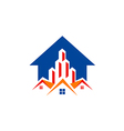 house realty building construction arrow logo vector image