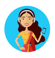 image of smiling support phone indian female vector image vector image