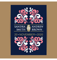 invitation in navy blue coral colors vector image