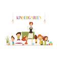 Kindergarden Teacher With Kids Cartoon vector image vector image