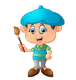 Little boy is painting with paintbrush vector image vector image