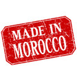 made in morocco red square grunge stamp vector image vector image