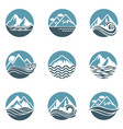 mountain and sea icon set vector image vector image
