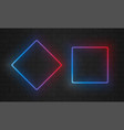 neon frames line light bulbs in triangle and vector image