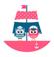 owls sailors on the boat vector image vector image