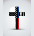police and firefighter support cross vector image