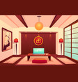room in asian style empty apartment interior vector image