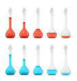 Row of volumetric flasks with volume reduction vector image vector image