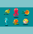 sea creatures set cute funny animals and fishes vector image vector image