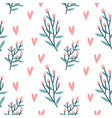 seamless pattern hearts holly berries branch vector image vector image