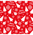 seamless pattern of christmas elements on a red vector image vector image