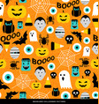seamless pattern various halloween icons vector image