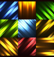 set abstract background with glowing lines vector image