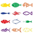 set creative colorful fish icons vector image vector image