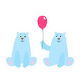 set of cartoon polar bears vector image vector image