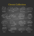 set of different types of cheese hand vector image vector image