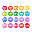 set of round discount tags in colors of rainbow vector image