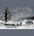 spooky old graveyard inside white fog clouds vector image vector image