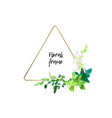triangle metallic gold frame with white flowers vector image