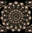 vintage floral gold paisley seamless mandala vector image