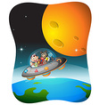 Wild animals traveling in spaceship vector image