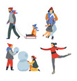 winter outdoor activity sport and walking isolated vector image vector image
