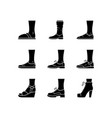 women and men shoes glyph icons set female summer vector image