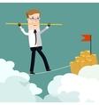 Businessman rope walk dollar sign pole Business vector image