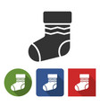 christmas stocking icon in different variants vector image