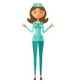 smiling doctor showing thumbs up flat vector image