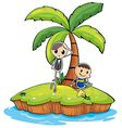 An island with two boys vector image vector image