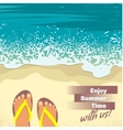 Background with sea sand beach feet in sandals vector image
