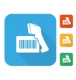 Barcode label with reader icon set vector image vector image