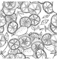 Black and white seamless pattern with lemons for vector image vector image