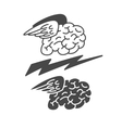 Brain with wings icon vector image vector image