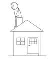 cartoon of sad or thinking man sitting on family vector image vector image