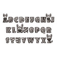 cartoon zebra font lettering alphabet set vector image vector image