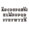 Cartoon zebra font lettering alphabet set
